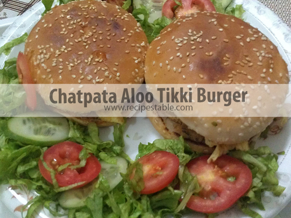 Chatpata Aloo Tikki Burger Recipe
