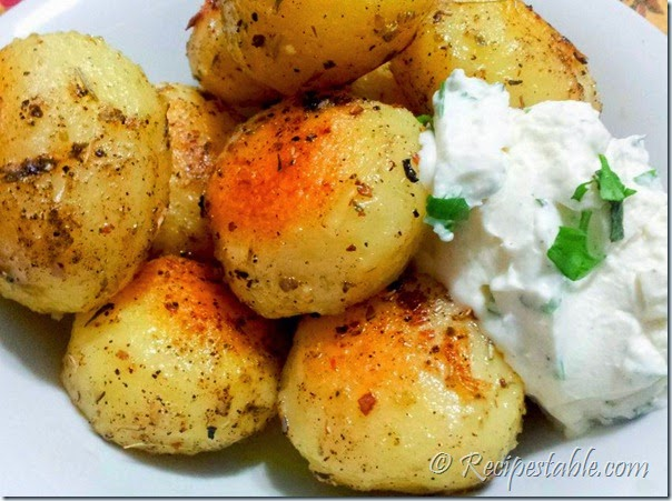 Herb Roasted Potatoes with Sour Cream