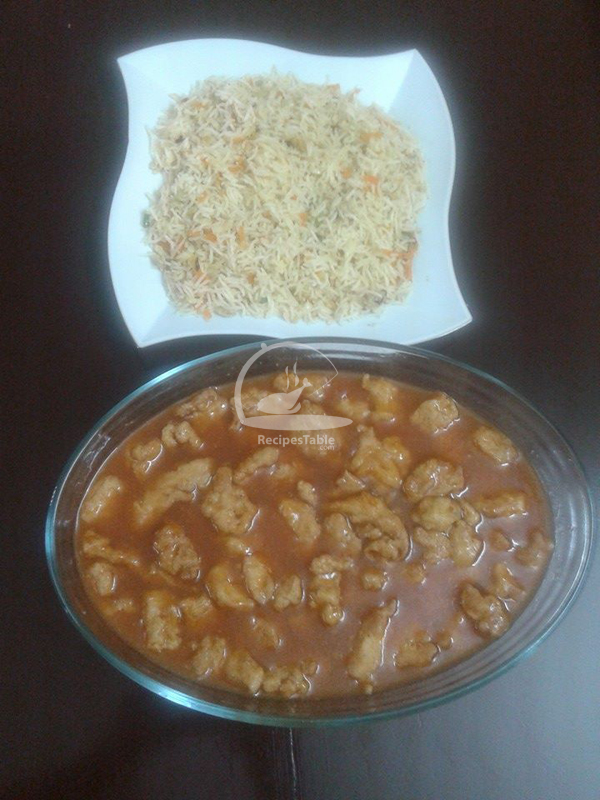 Egg Fried Rice with Chicken Manchurian