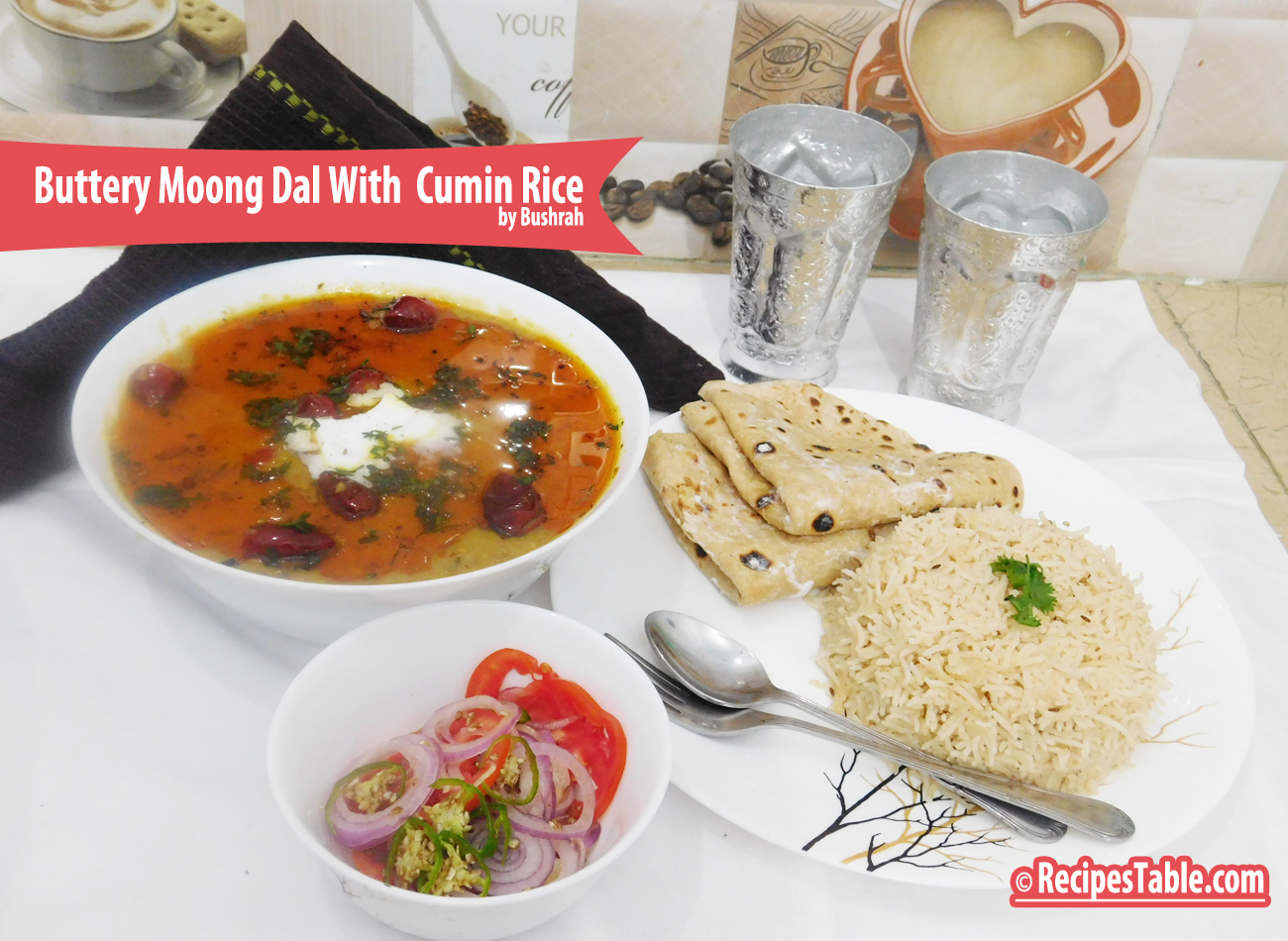 Buttery Moong Dal with Cumin Rice