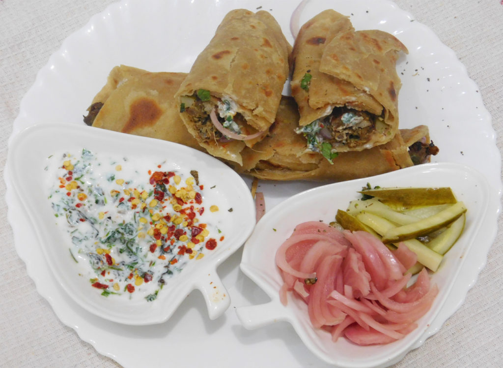 Hot and Spicy Kebab Paratha Rolls recipe