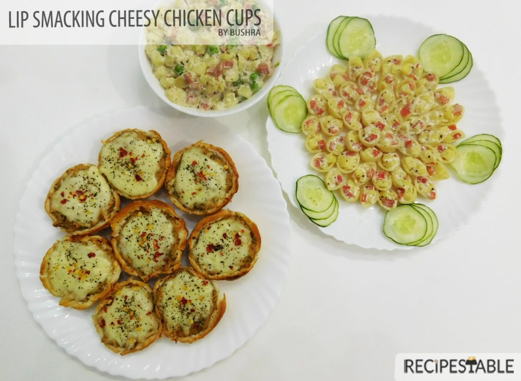 Cheesy Chicken Cups with Pasta Salad