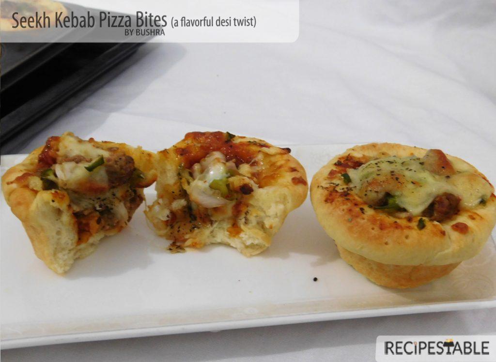 Seekh Kebab Pizza Bites Recipe
